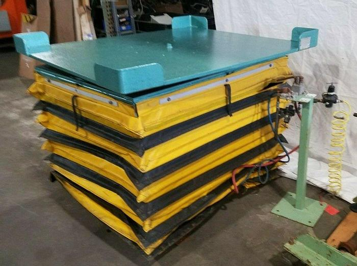 Used Knight 4000 Lb. Lift Pneumatic Air Lift Turn Table Pallet Coil Lifting Scissor