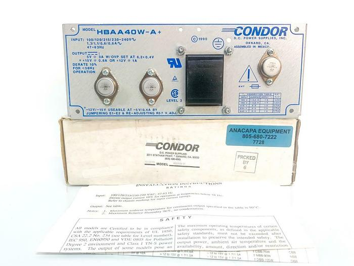 Condor Power Supplies HBAA 40W-A+ Industrial Control System NEW (7728) W