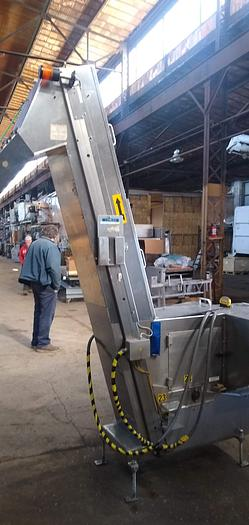 """Used Stainless Feed hopper 12"""" w x 98 """" h   x 68 h discharge"""