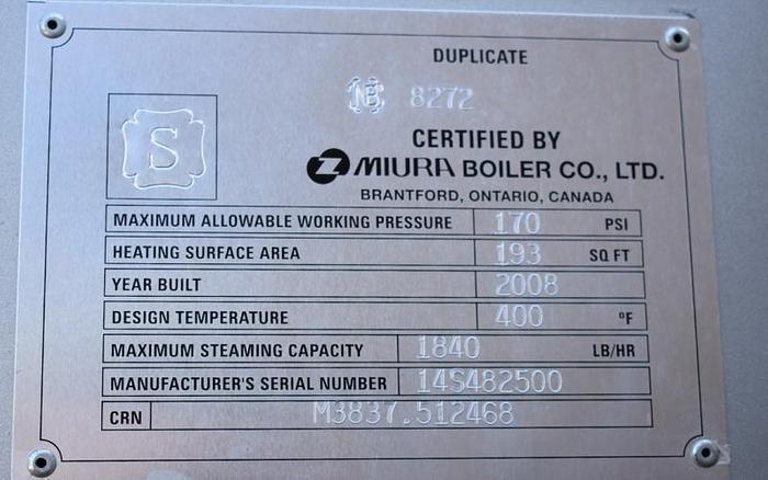 USED BOILER, MIURA LXL-50-07, GAS-FIRED STEAM BOILER, 50 HP, LOW PRESSURE BOILER