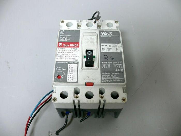 Used Westinghouse Series C Motor Circuit Protector 3 Pole 7A 600VAC 250VDC
