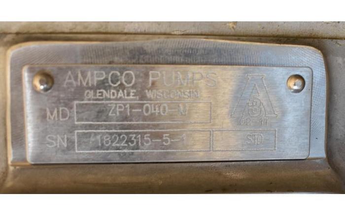 USED AMPCO ROTARY LOBE PUMP, MODEL ZP1-040-M, STAINLESS STEEL, SANITARY