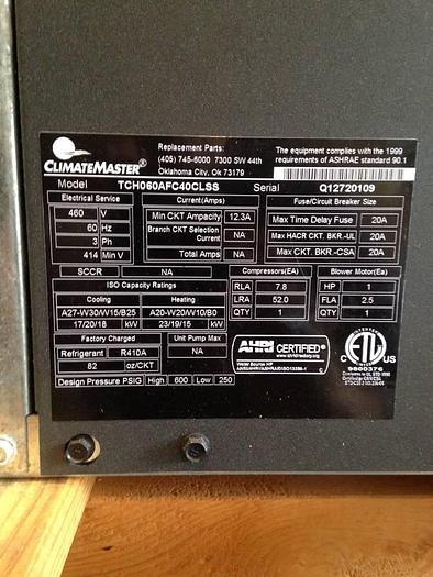 Climate Master Heat Pumps TCH060AFC40CLSS