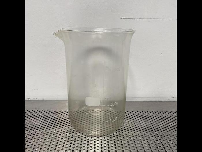 "Used Duran Heavy Wall Large Capacity 9 1/2"" OD Glass Beaker w/ Spout"