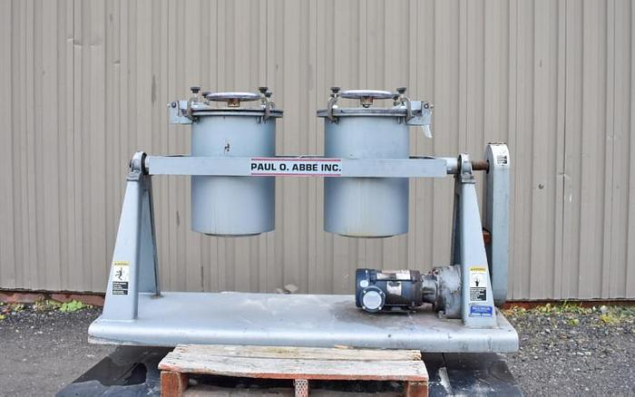 Used USED PAUL O ABBE PIVOTING JAR MILL, 2X 10 US GALLONS