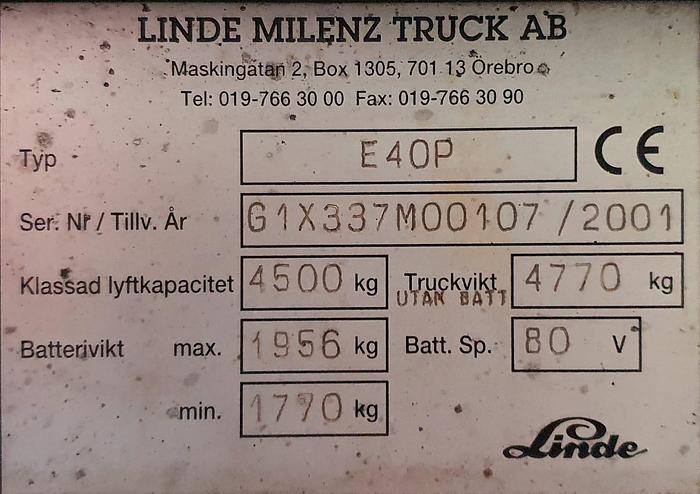 Wózek widłowy LINDE E40P
