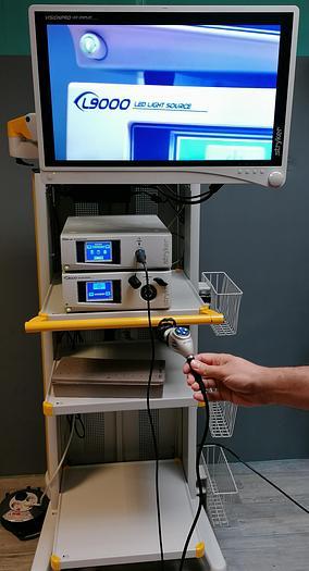 Gebraucht Endoskopieturm mit   Kamera HD-Prozessor mit Kamerakopf, L9000 LED - Lichtquelle, Dokumentationssystem SDC Ultra HD