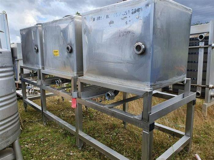 Used 3 Tank Stainless Steel Product Dispensing Station & Stand