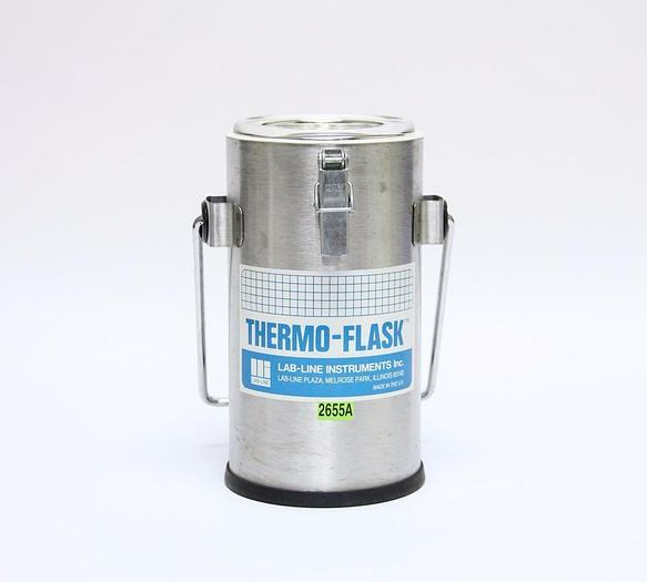 Used Lab-Line Instruments 2122 Stainless Steel Wide 1L Mouth Thermo Flask (2655A)
