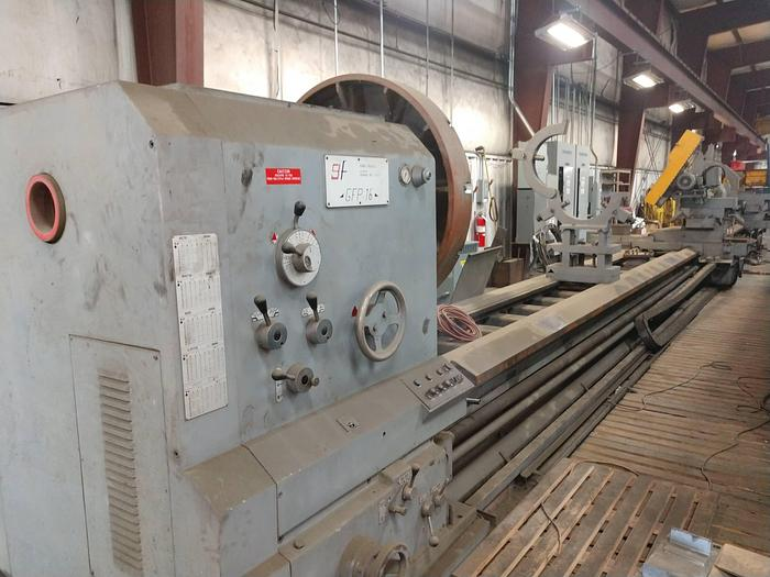 "Used Gurutzpe Engine Lathe, 72"" x 720"", 62"" Chuck, 60"" SOCS, 100hp, 200 rpm, steady rest, ID17584"