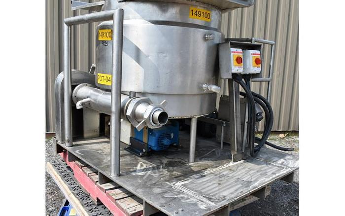USED 60 GALLON JACKETED TANK, STAINLESS STEEL, WITH MIXER & AUGER FEEDER