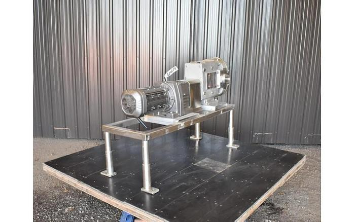 USED AMPCO ZP3-220 ROTARY LOBE PUMP, STAINLESS STEEL, SANITARY