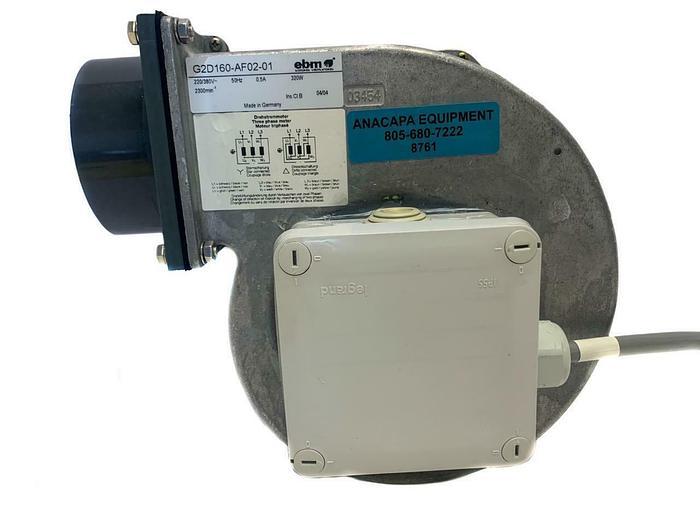 """Used EBM-Papst G2D160-AF02-01 Fan 10.6"""" x 10.2"""" x 5.15"""" AC Centrifugal Blower (8761)W"""