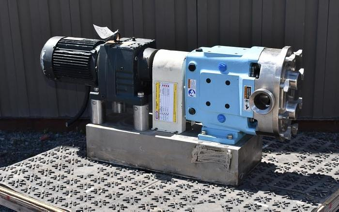 USED WAUKESHA ROTARY LOBE PUMP, MODEL 060-U1, 316L STAINLESS STEEL, SANITARY