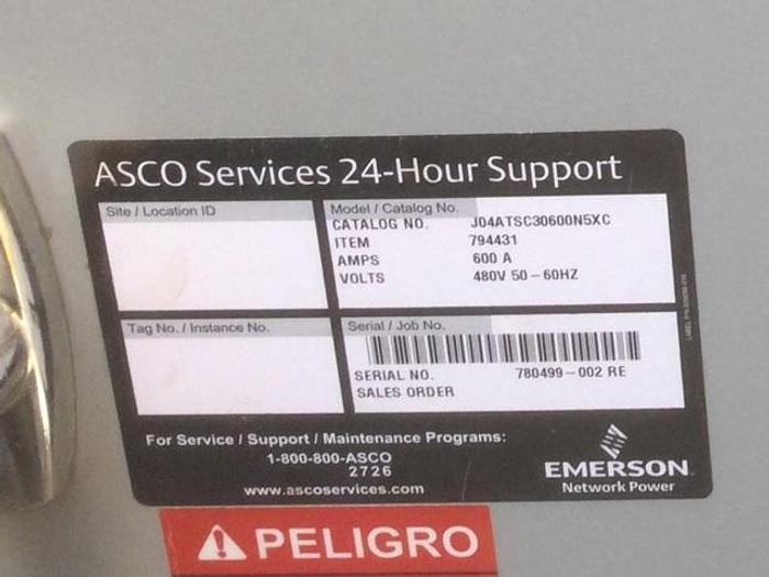2018 ASCO 600AMP  480Volt 3 Phase  ATS