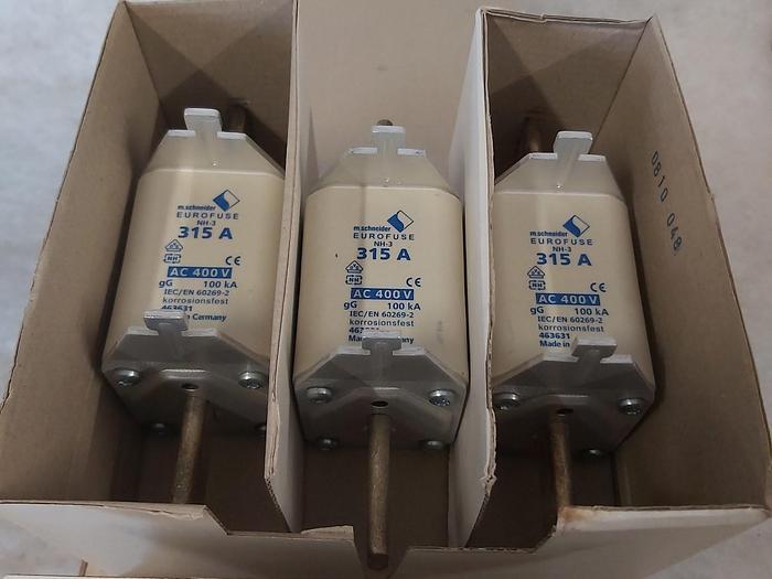 3 Stück NH Sicherungseinsätze Größe 3, 315A, NH-3, 400V, Eurofuse,  neuwertig