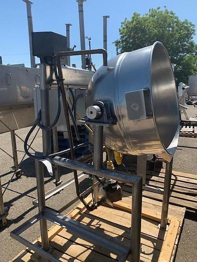 Used 70 Gallon Burkhard Jacketed Stainless Steel Tilting Steam Kettle