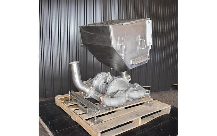 USED SANDPIPER DIAPHRAGM PUMP, ALUMINUM, HEAVY DUTY FLAP VALVE, WITH STAINLESS STEEL CHUTE