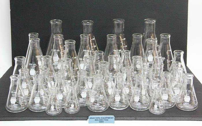 Used Kimax Kimble 26500 Flask Various Sizes 1000mL 500mL 250mL 125mL LOT OF 42 (6885) 689192505793