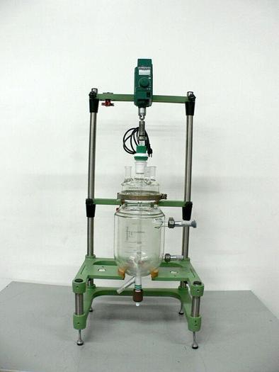 Used Chemglass 5 Liter Jacketed Glass Reactor w/ Chemglass Digital overhead Stirrer