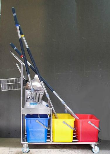 Used Micronova Stainless Steel Cleanroom Cart Triple Bucket Vileda Roll-O-Matic 6326