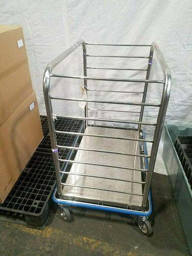 """Used Pedigo Stainless Steel Rolling Cart Rack clean room 34"""" x 22"""" Heavy Duty Pharma"""