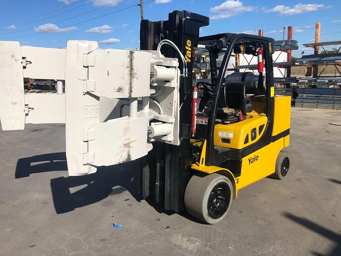 """Used 12,000 POUND YALE ROLL CLAMP TRUCK MODEL GLC120VXPRS W/ 72"""" CLAMP MFG. 2015 5,500 HOURS"""