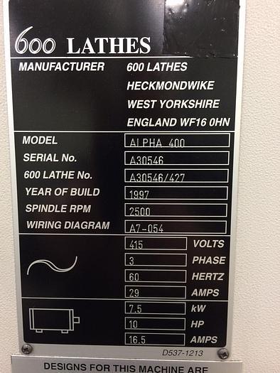 1997 Harrison Alpha 400 Plus CNC Engine Lathe #1558