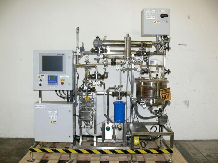 Used ABEC 50 Liter Process Finishing Skid w/ Heat Exchanger, SPX Mixer & Strainer