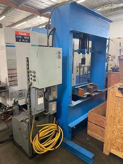 Used 200 TON HYDRAULIC H-FRAME PRESS 5 HP Parker V-Pac #5882