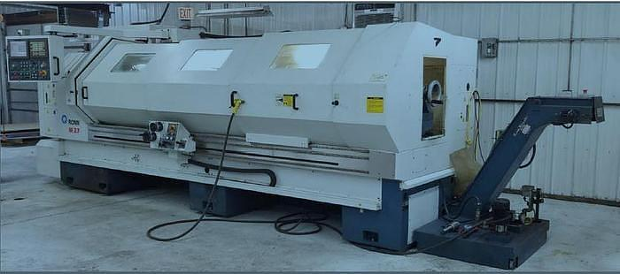 "2003 ROMI M27 27"" X 120"" CNC FLAT BED LATHE WITH STEADYREST & FANUC 21iT CONTROL"