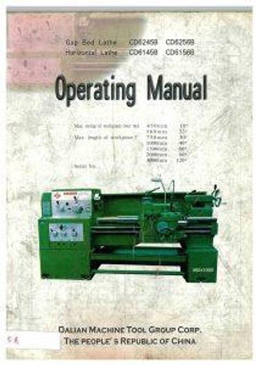 Used Manual for Used Dailian Lathe machine – Operation Manual – English