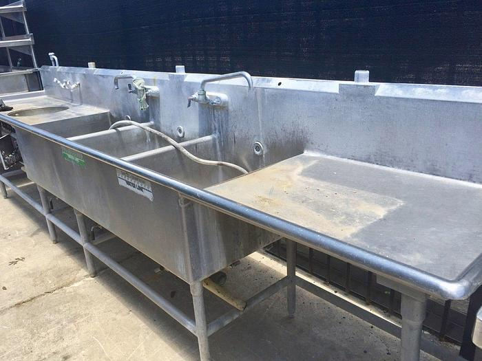 Used 13Ft Stainless Steel 3 Compartment Sink