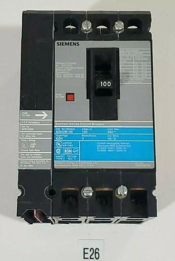 Used *PREOWNED* Siemens ED42B100 100A Circuit Breaker + GF01ED60 Fault + Warranty!