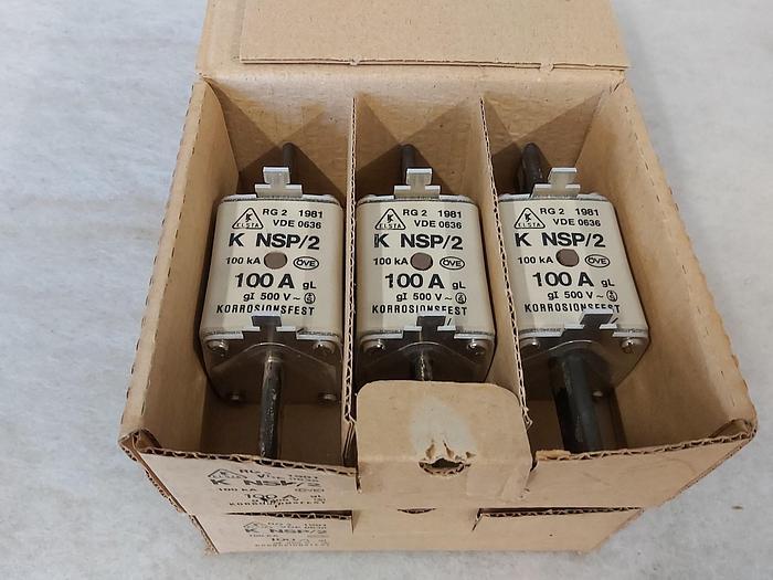 3 Stück NH Sicherungseinsätze Größe 2, 100A, K NSP/2, 500V, Elsta,  neuwertig