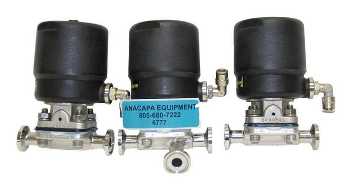 "Used ITT .5""-AP0506 Sanitary Diaphragm Valves .5-316L-RA20MAX-CWP150 Lot of 3 (6777)W"