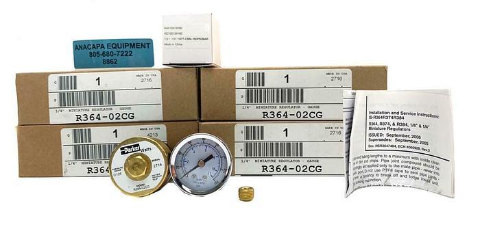 "Parker Watts R364-02CG 1/4"" NPT Pressure Regulator & Gauge Lot of 4 New (8862)"