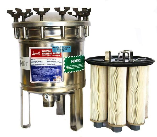 Used Harmsco H.I.F.-7 Up-Flow Cartridge Filter & Housing 30 GPM 150 PSI 8044