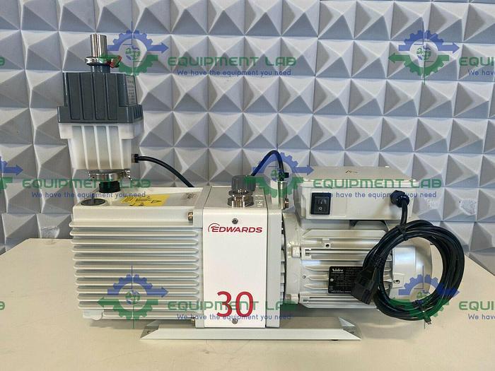 Used Edwards  E2M30 Rotary Vacuum Pump 23 CFM w/ EMF20 Oil Mist Filer & 1.2 HP Motor