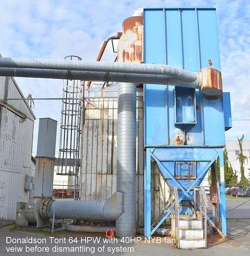 Used used 40 HP Dust collection system with Donaldson Torit baghouse, fan, rotary airlock & blow pipe 64 HPW
