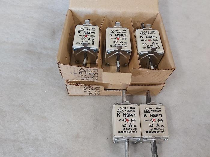 3 Stück NH Sicherungseinsätze Größe 1, 50A, NSP/1, 500V, Elsta,  neuwertig