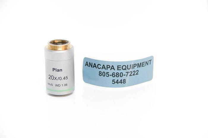 Used Amscope Plan 20x / 0.45 Infinity/0 WD 1.06 Microscope Objective (5448)