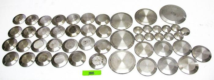 Used UHV, Tri-Clover Stainless Steel End Caps Lot of 50 Various Sizes (2885)