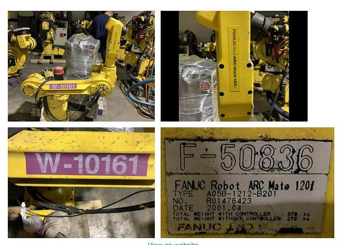 Used 2001 FANUC ARCMATE 120i 6 AXIS CNC ROBOT WITH RJ3 CONTROLLER