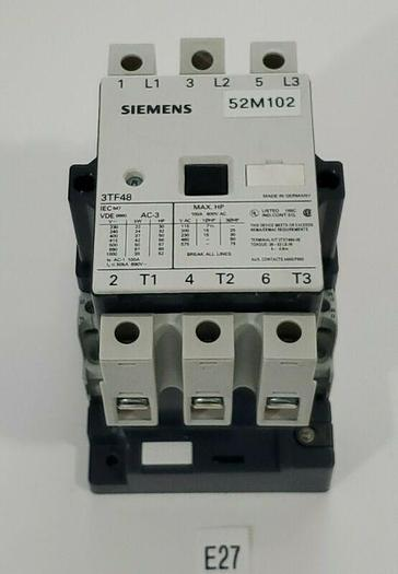 Used *PREOWNED* Siemens 3TF48 Contactor 3 Pole 100A 600V VDE 0660 + Warranty!