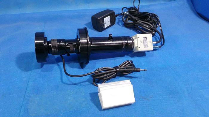 Used Hitachi KP-D20BU Camera, KP-D20BU / CCD Color Compact Camera / DC12V / 220mA / With Navitar 1-6010 Lens C-Mount / And 1-6245 Short Adapter1x ADAPTER II And Navitar 1-6232 Microscope / and Camera Light /