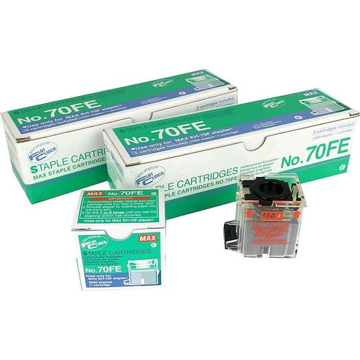 Max No. 70FE Flat Clinch Staple Cartridge For EH-70F & IDEAL 8560 - Pack of 10