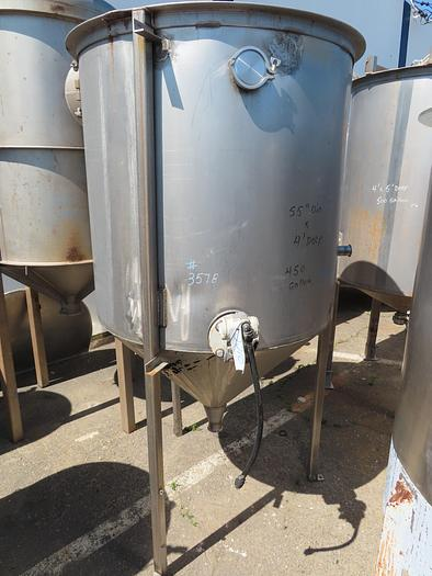 Used 450 Gallon Vertical Stainless Steel Cone Bottom Tank