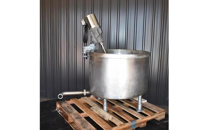 USED 75 GALLON TANK, STAINLESS STEEL, WITH SPX CLAMP-ON MIXER