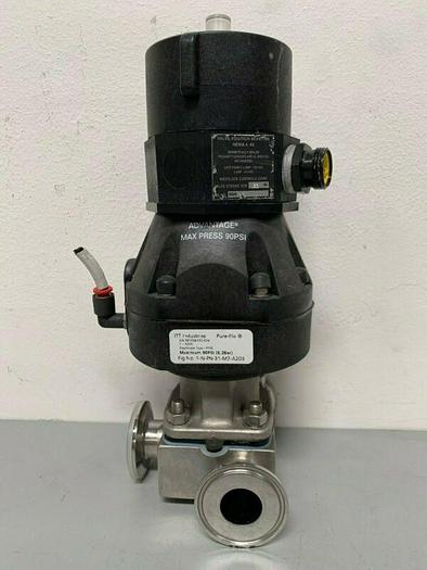 "Used ITT Pure-Flo A209 3-way Stainless Steel Valve w/ 2"" San Fit & Position Monitor"